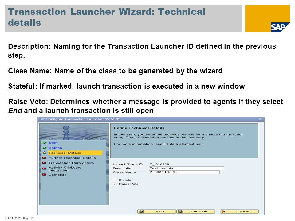 Transaction Launcher Wizard: Technical details