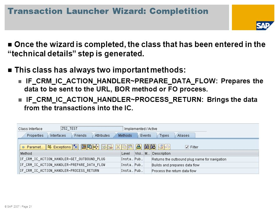 Transaction Launcher Wizard: Completition