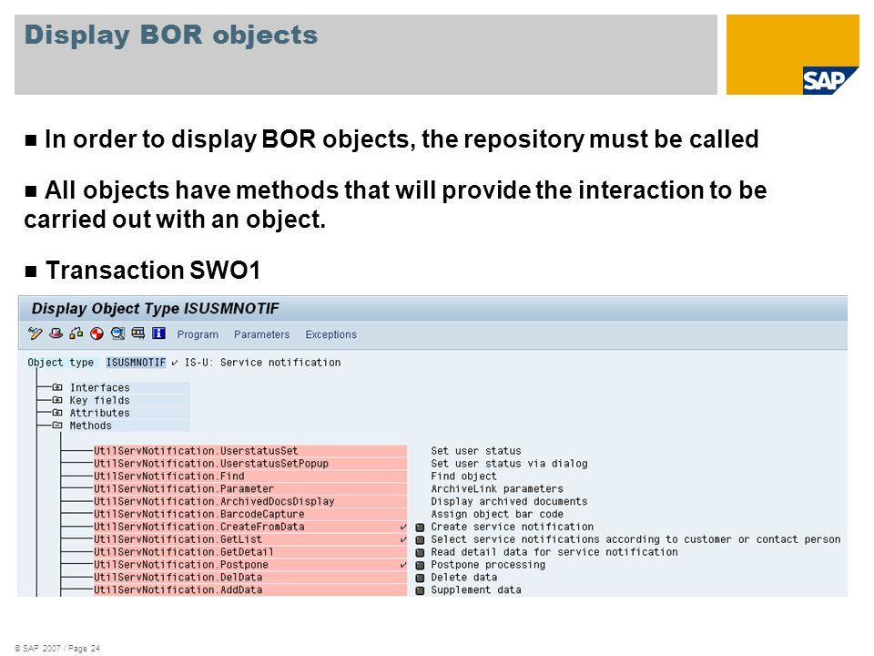 Display BOR objectsIn order to display BOR objects, the repository must be called.