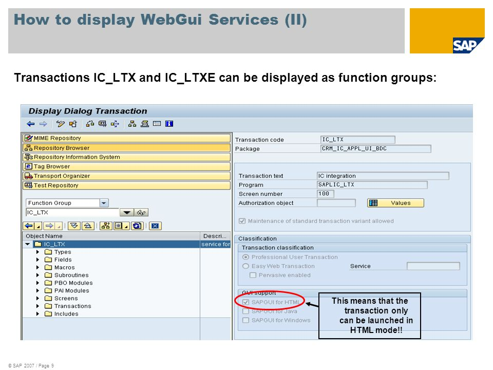 How to display WebGui Services (II)