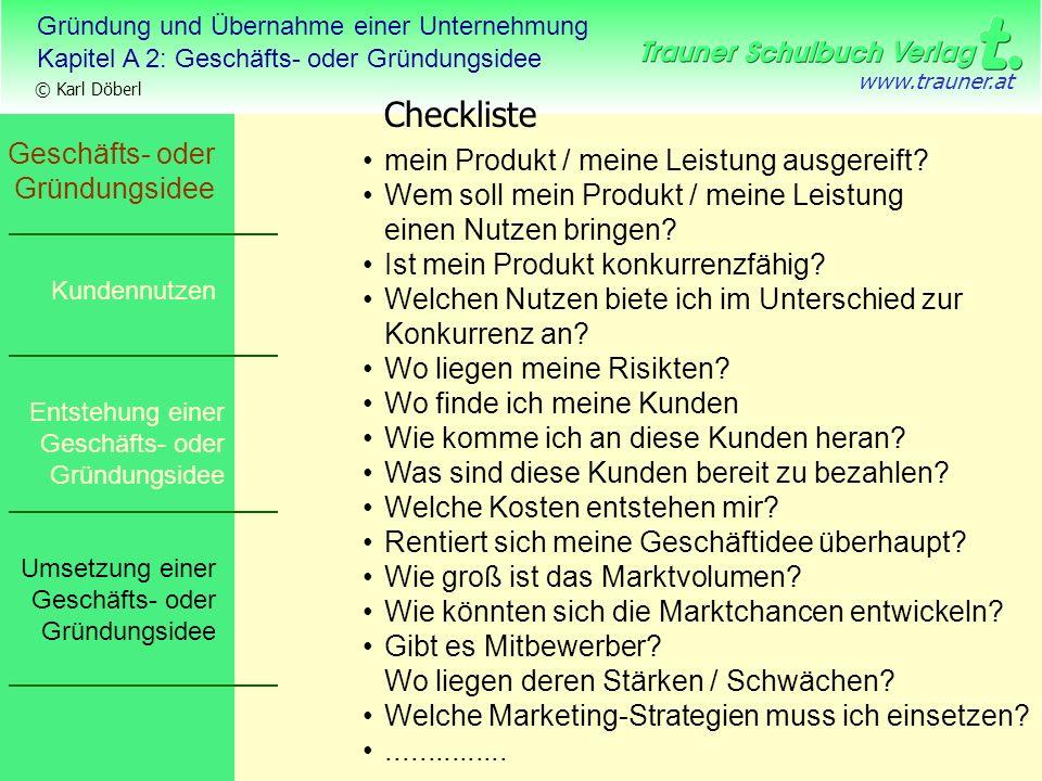 Checkliste Geschäfts- oder Gründungsidee
