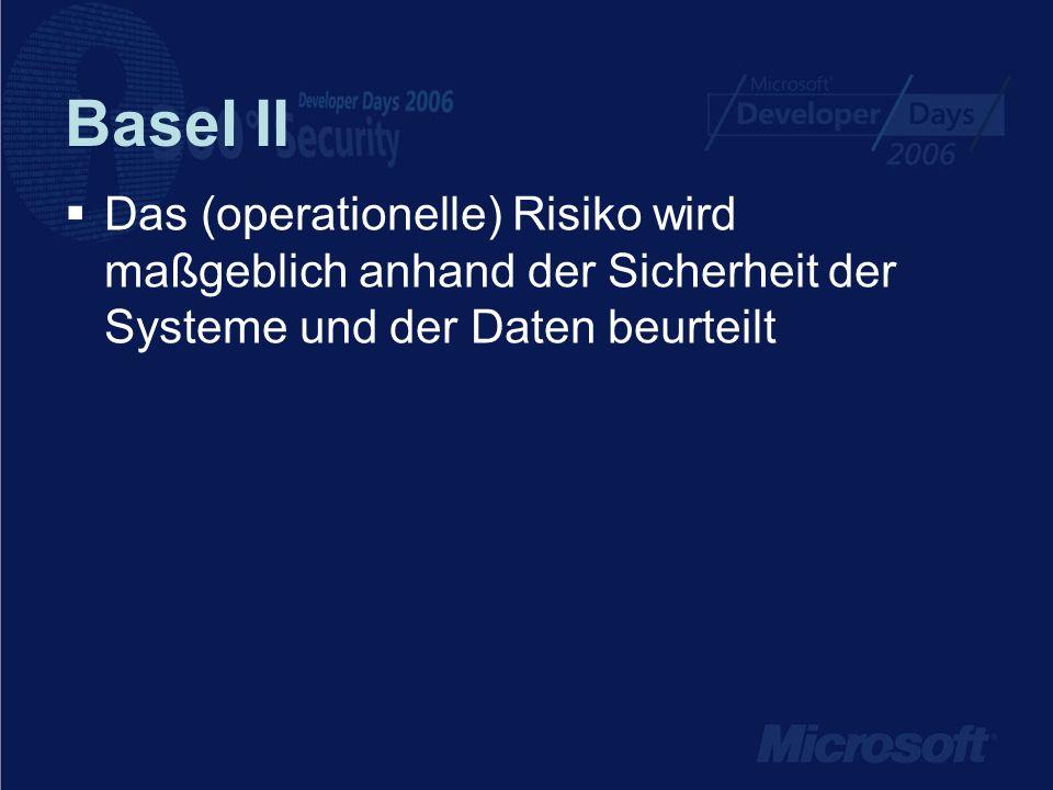 Basel II Das (operationelle) Risiko wird maßgeblich anhand der Sicherheit der Systeme und der Daten beurteilt.