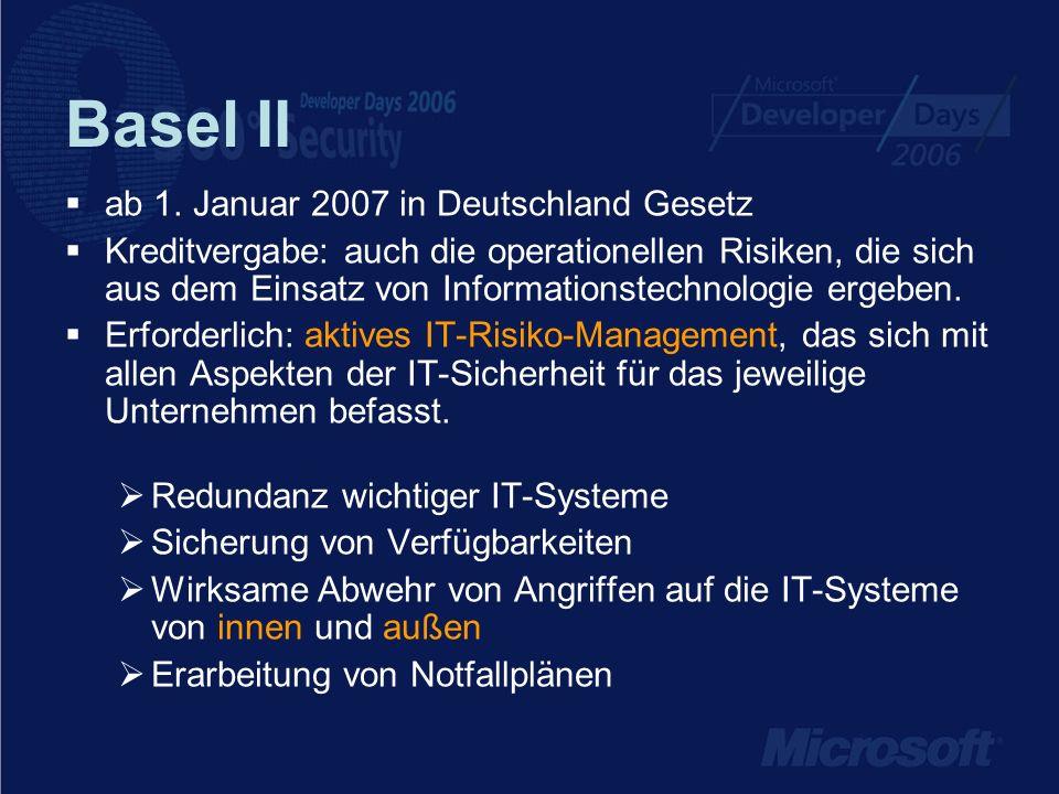 Basel II ab 1. Januar 2007 in Deutschland Gesetz