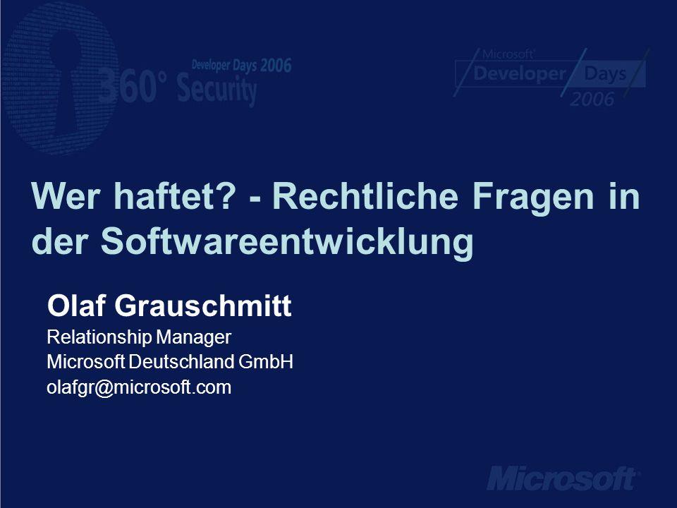Wer haftet - Rechtliche Fragen in der Softwareentwicklung