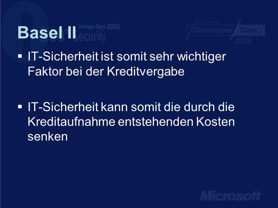 Basel II IT-Sicherheit ist somit sehr wichtiger Faktor bei der Kreditvergabe.