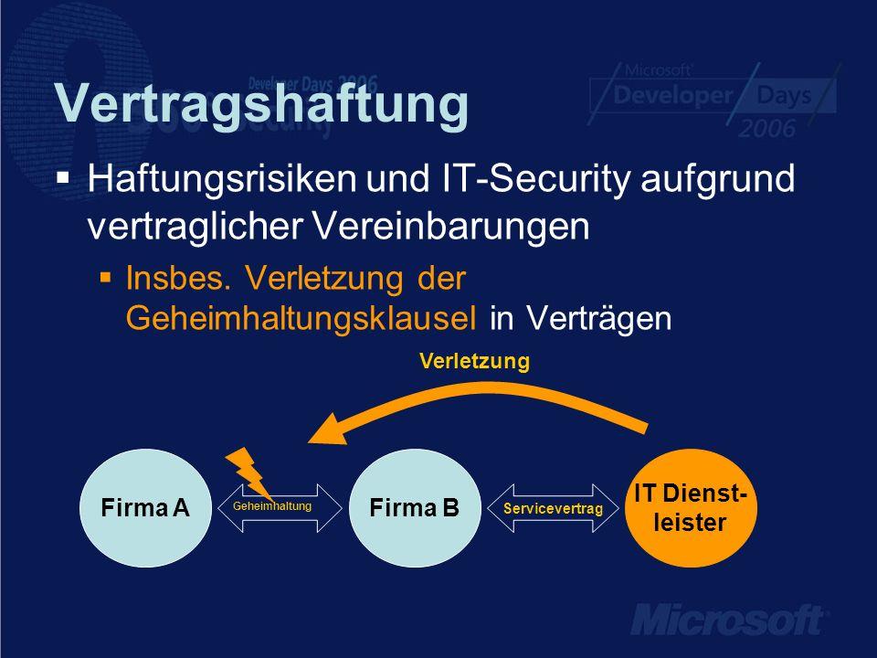 Vertragshaftung Haftungsrisiken und IT-Security aufgrund vertraglicher Vereinbarungen. Insbes. Verletzung der Geheimhaltungsklausel in Verträgen.
