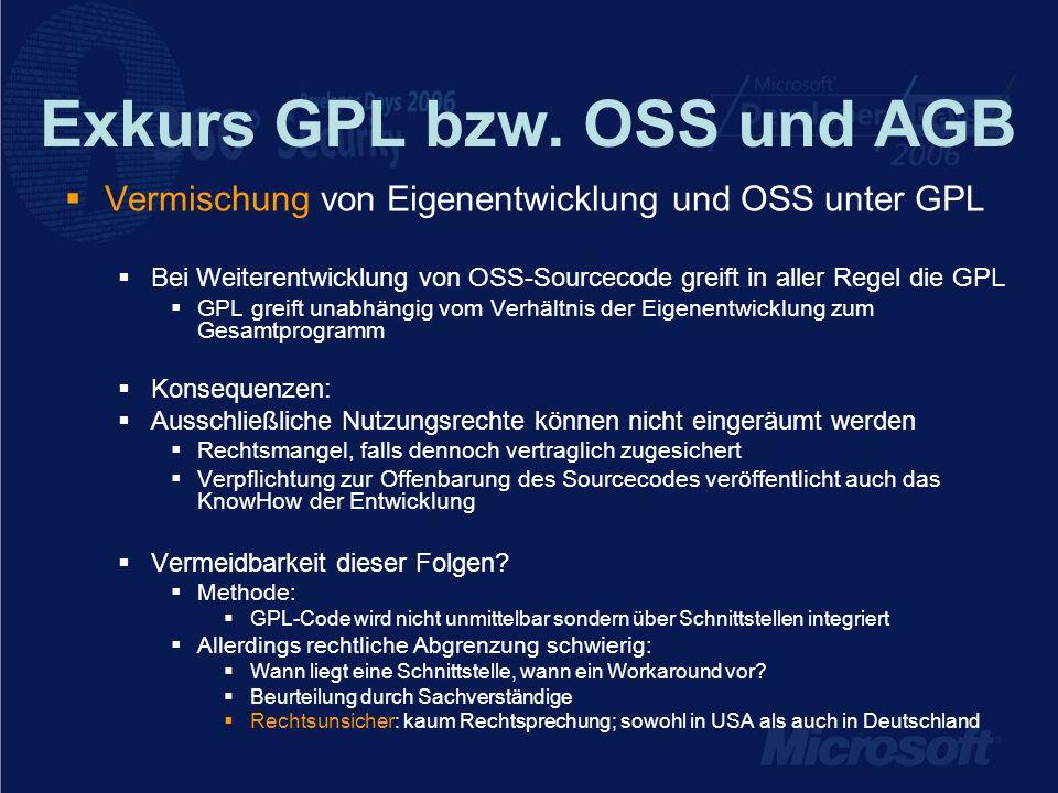 Exkurs GPL bzw. OSS und AGB