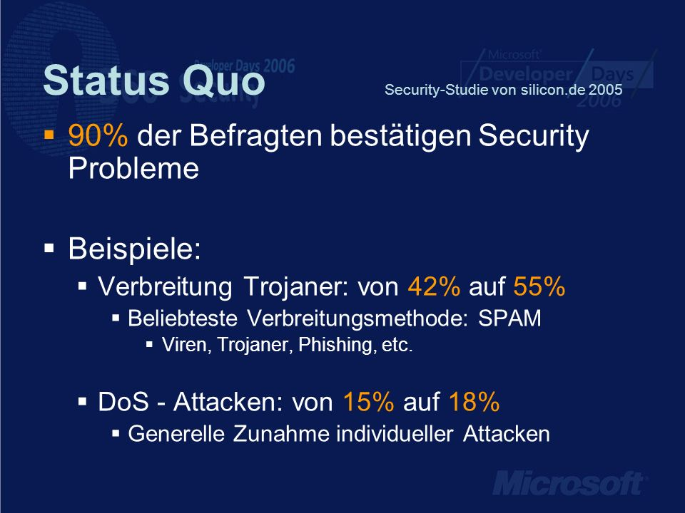 Status Quo Security-Studie von silicon.de 2005
