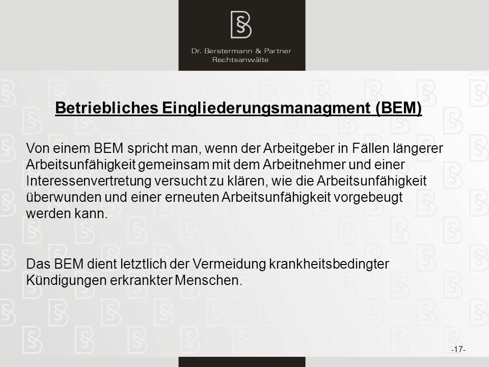 Betriebliches Eingliederungsmanagment (BEM)