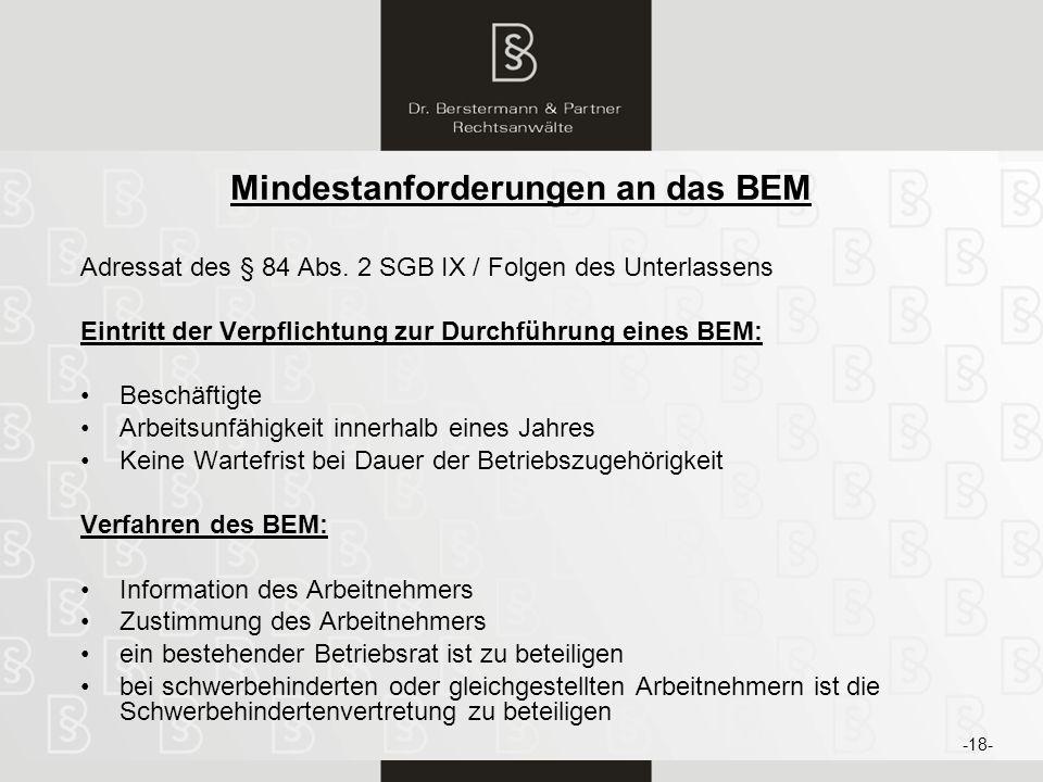 Mindestanforderungen an das BEM