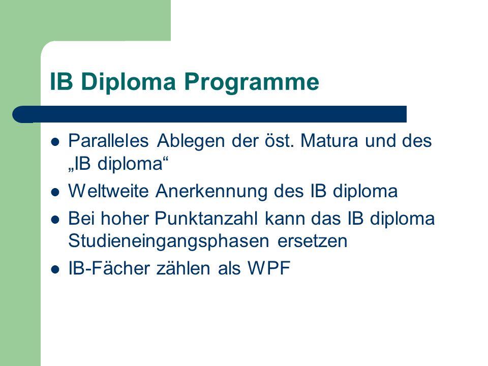 """IB Diploma Programme Paralleles Ablegen der öst. Matura und des """"IB diploma Weltweite Anerkennung des IB diploma."""