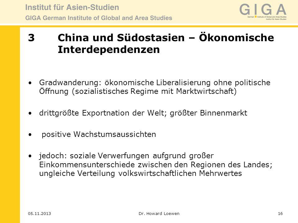 3 China und Südostasien – Ökonomische Interdependenzen