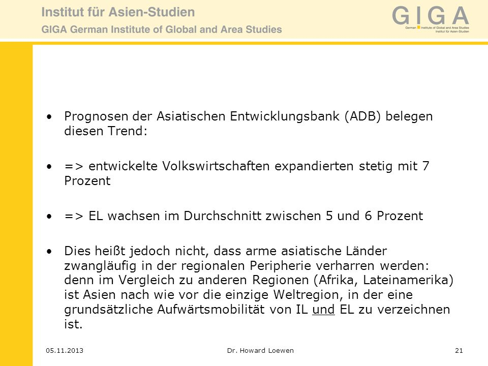 Prognosen der Asiatischen Entwicklungsbank (ADB) belegen diesen Trend: