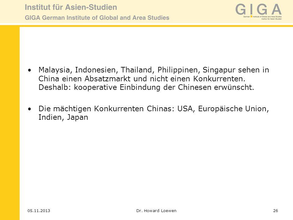 Malaysia, Indonesien, Thailand, Philippinen, Singapur sehen in China einen Absatzmarkt und nicht einen Konkurrenten. Deshalb: kooperative Einbindung der Chinesen erwünscht.