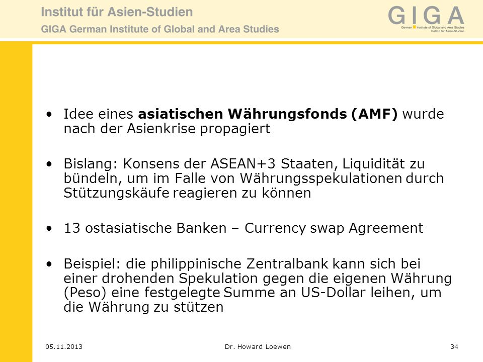 13 ostasiatische Banken – Currency swap Agreement