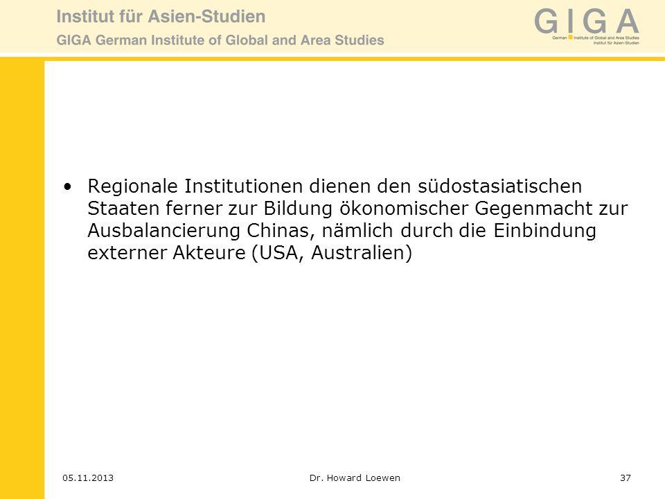 Regionale Institutionen dienen den südostasiatischen Staaten ferner zur Bildung ökonomischer Gegenmacht zur Ausbalancierung Chinas, nämlich durch die Einbindung externer Akteure (USA, Australien)