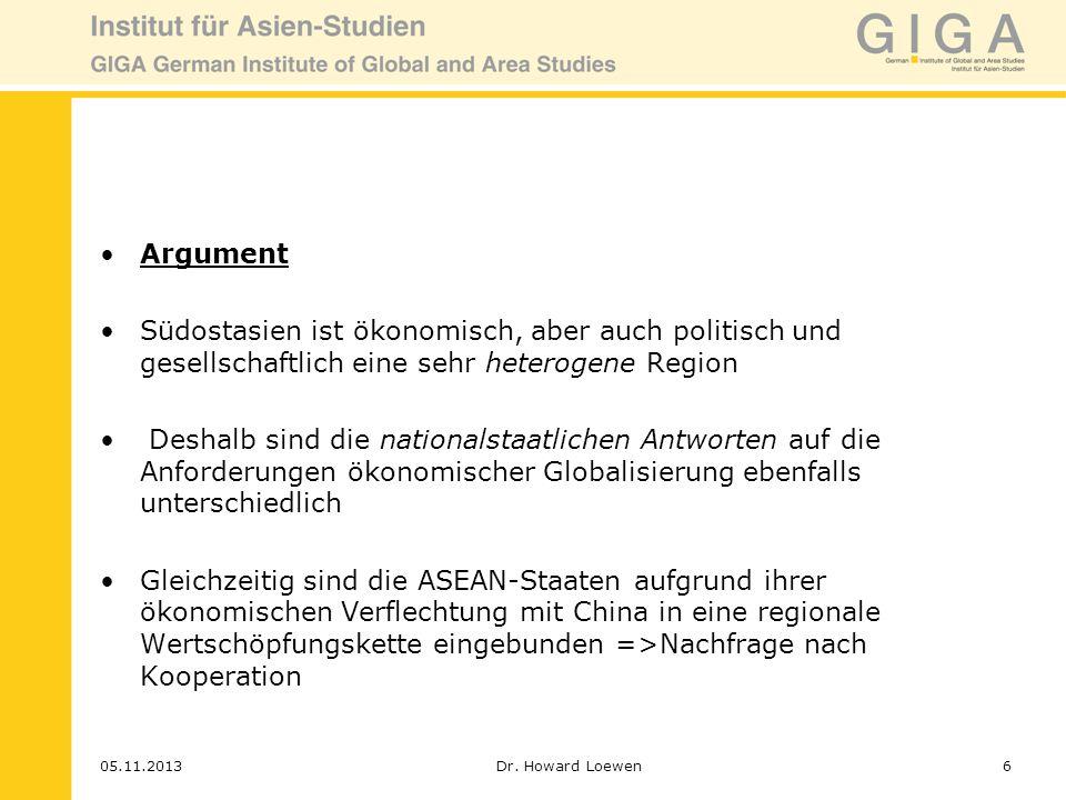 Argument Südostasien ist ökonomisch, aber auch politisch und gesellschaftlich eine sehr heterogene Region.