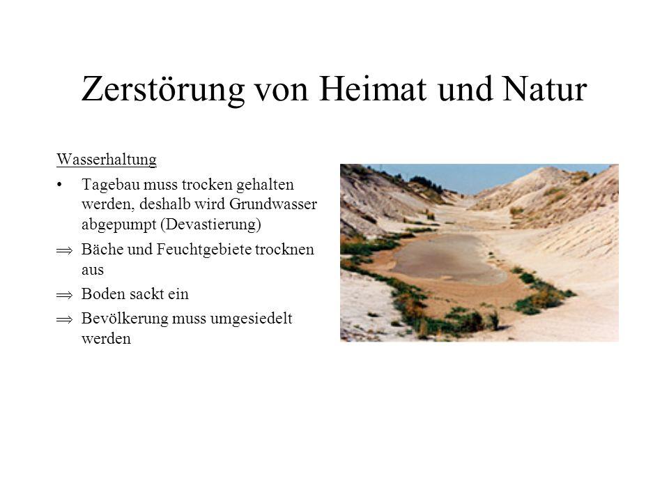 Zerstörung von Heimat und Natur