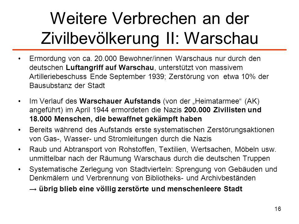 Weitere Verbrechen an der Zivilbevölkerung II: Warschau