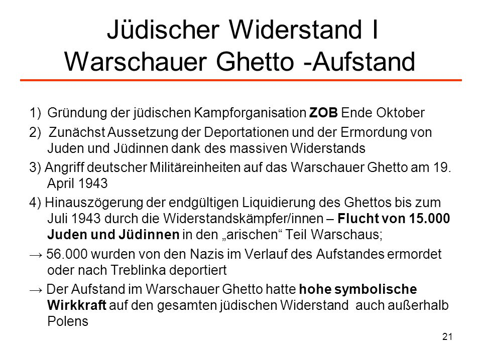 Jüdischer Widerstand I Warschauer Ghetto -Aufstand
