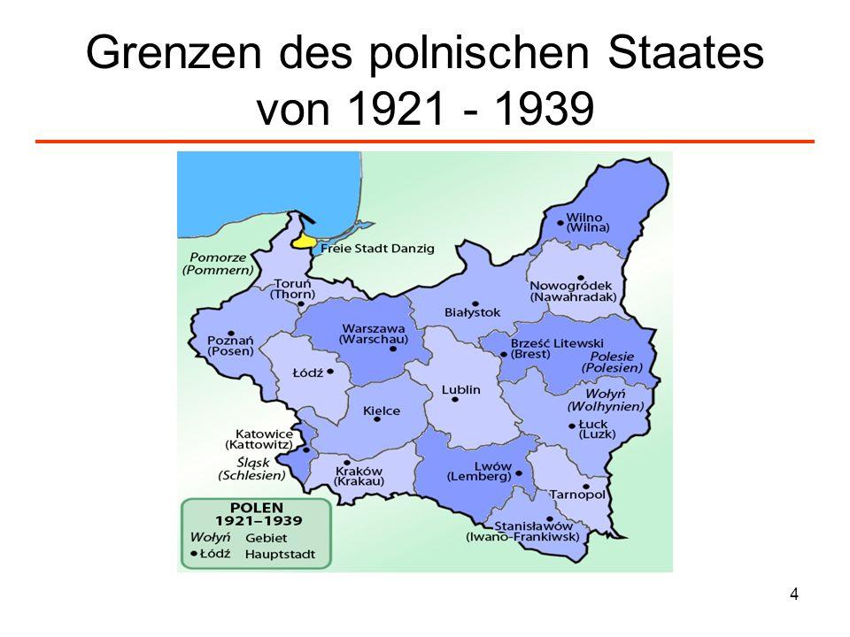 Grenzen des polnischen Staates von 1921 - 1939
