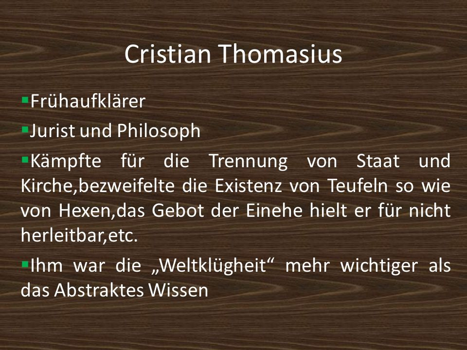 Cristian Thomasius Frühaufklärer Jurist und Philosoph