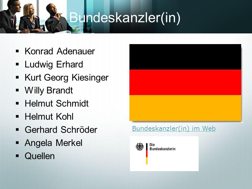 Bundeskanzler(in) Konrad Adenauer Ludwig Erhard Kurt Georg Kiesinger