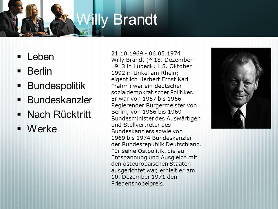 Willy Brandt Leben Berlin Bundespolitik Bundeskanzler Nach Rücktritt
