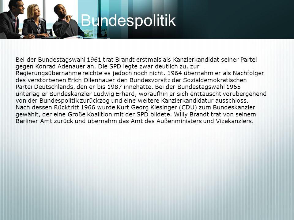 BundespolitikBei der Bundestagswahl 1961 trat Brandt erstmals als Kanzlerkandidat seiner Partei.
