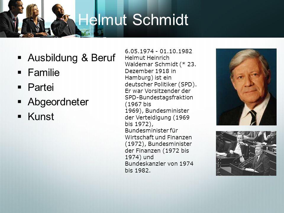Helmut Schmidt Ausbildung & Beruf Familie Partei Abgeordneter Kunst