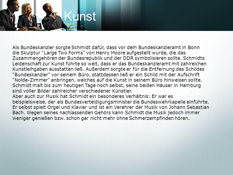 KunstAls Bundeskanzler sorgte Schmidt dafür, dass vor dem Bundeskanzleramt in Bonn.