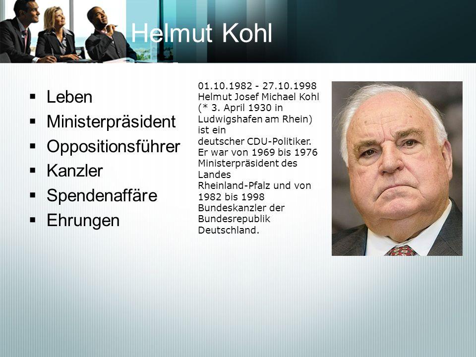 Helmut Kohl Leben Ministerpräsident Oppositionsführer Kanzler