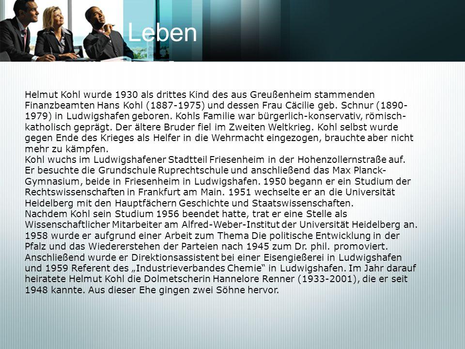 Leben Helmut Kohl wurde 1930 als drittes Kind des aus Greußenheim stammenden.