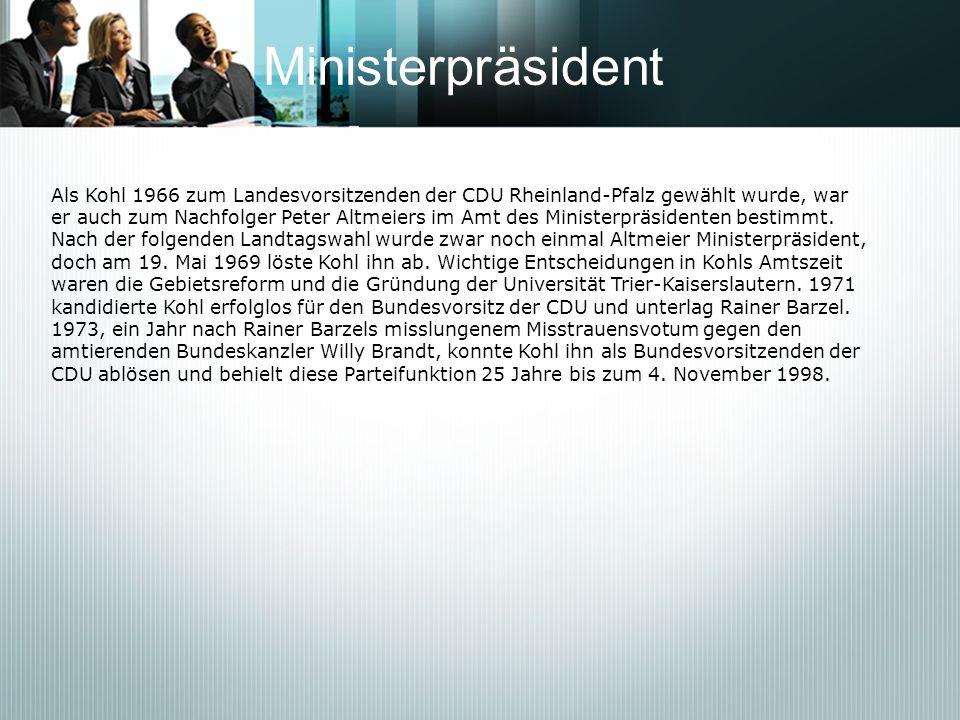 Ministerpräsident Als Kohl 1966 zum Landesvorsitzenden der CDU Rheinland-Pfalz gewählt wurde, war.