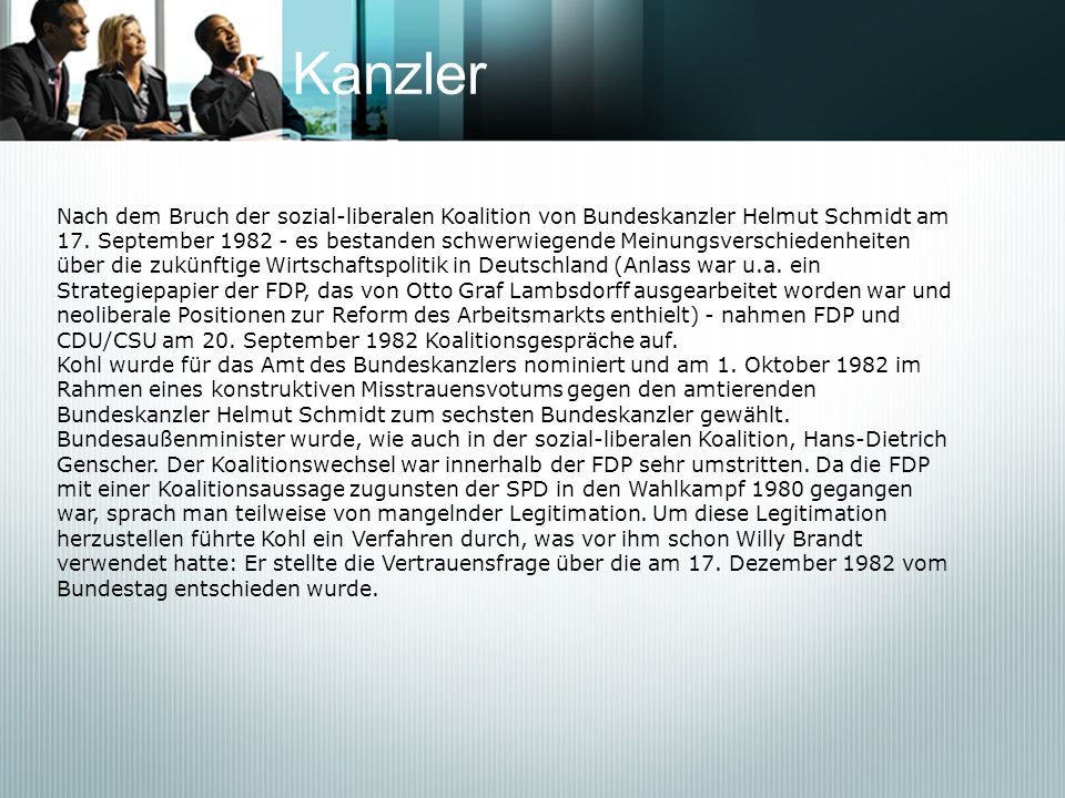 Kanzler Nach dem Bruch der sozial-liberalen Koalition von Bundeskanzler Helmut Schmidt am.