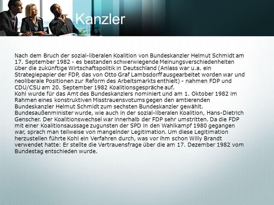 KanzlerNach dem Bruch der sozial-liberalen Koalition von Bundeskanzler Helmut Schmidt am.