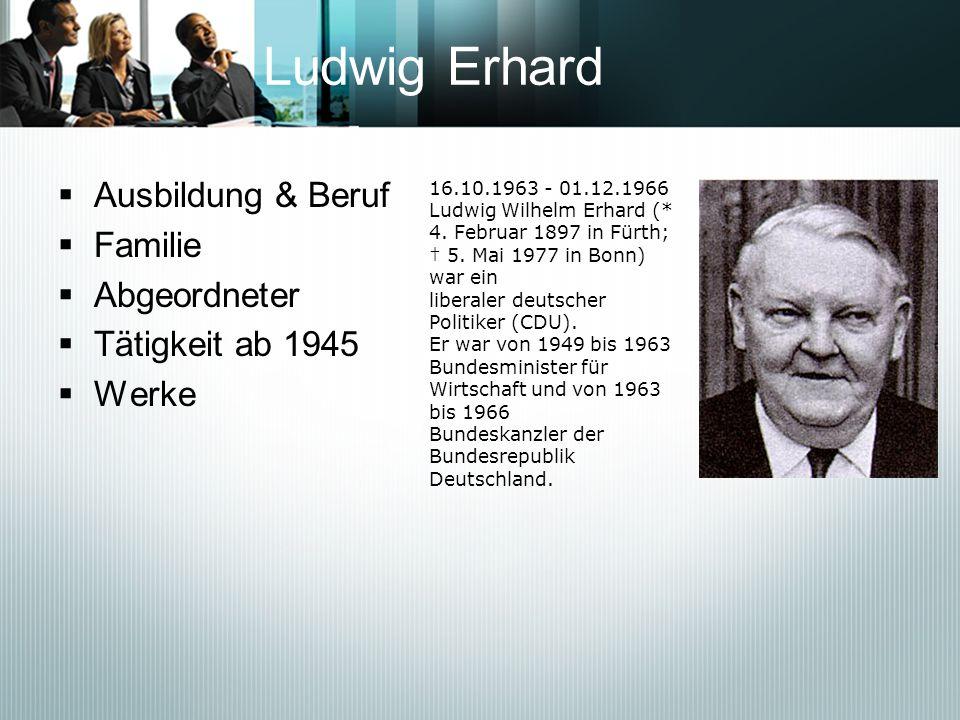 Ludwig Erhard Ausbildung & Beruf Familie Abgeordneter