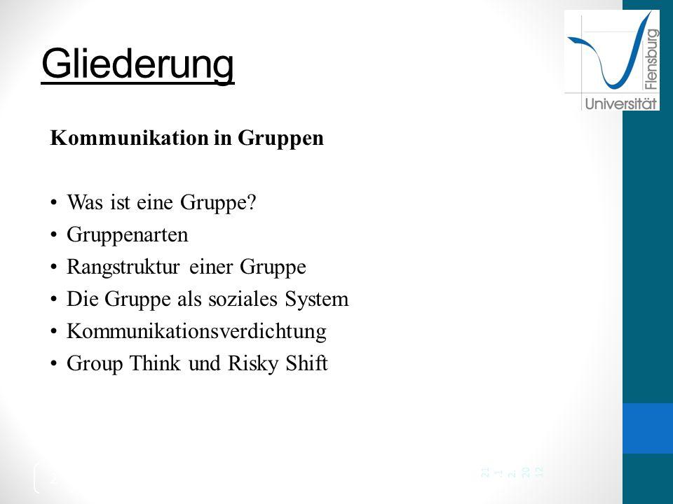 Gliederung Kommunikation in Gruppen Was ist eine Gruppe Gruppenarten
