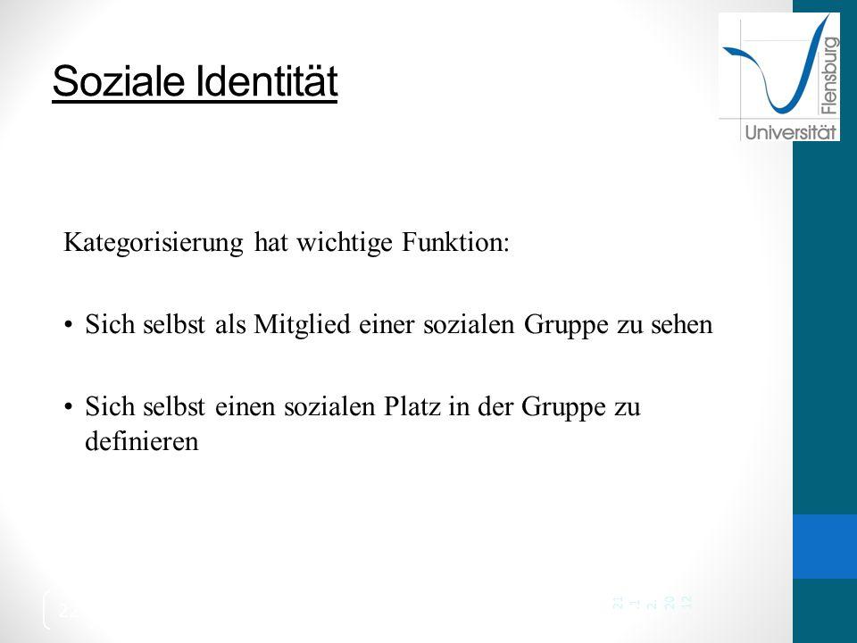 Soziale Identität Kategorisierung hat wichtige Funktion:
