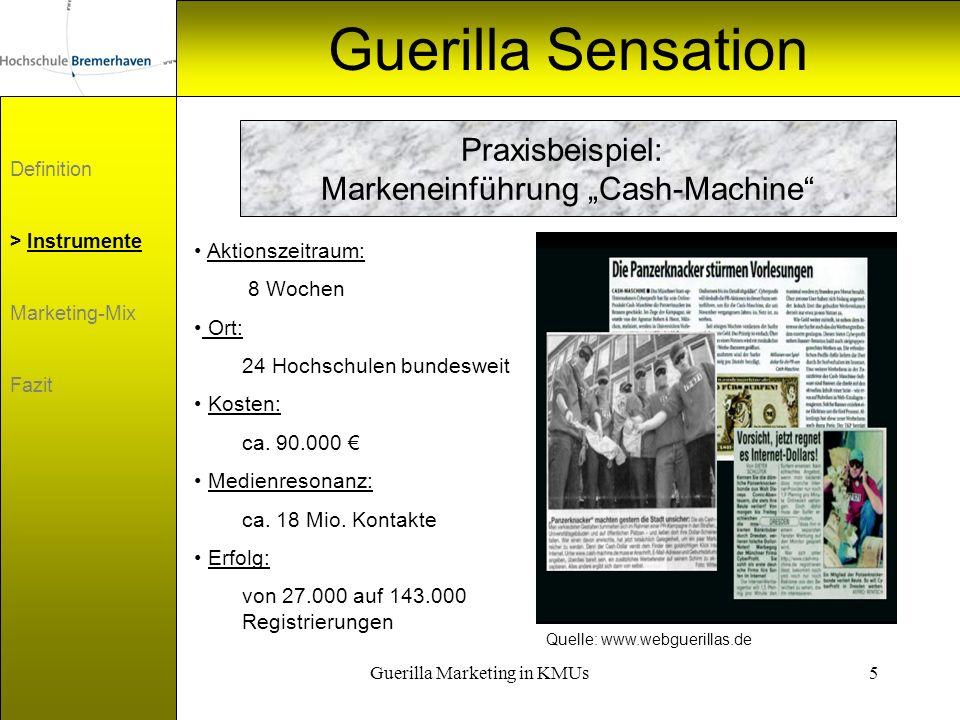 """Guerilla Sensation Praxisbeispiel: Markeneinführung """"Cash-Machine"""