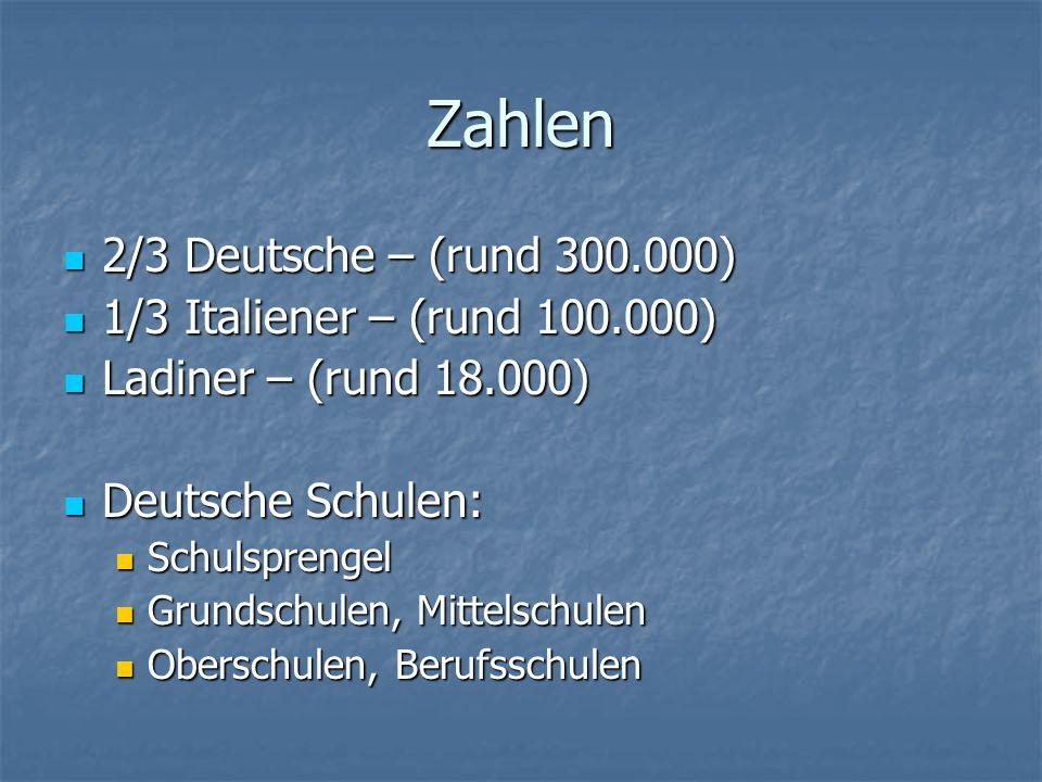 Zahlen 2/3 Deutsche – (rund 300.000) 1/3 Italiener – (rund 100.000)