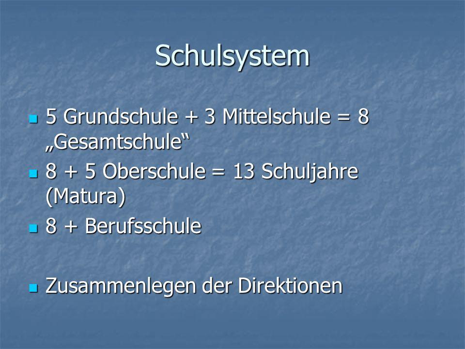 "Schulsystem 5 Grundschule + 3 Mittelschule = 8 ""Gesamtschule"