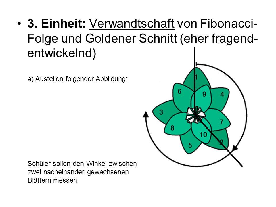 3. Einheit: Verwandtschaft von Fibonacci-Folge und Goldener Schnitt (eher fragend-entwickelnd)