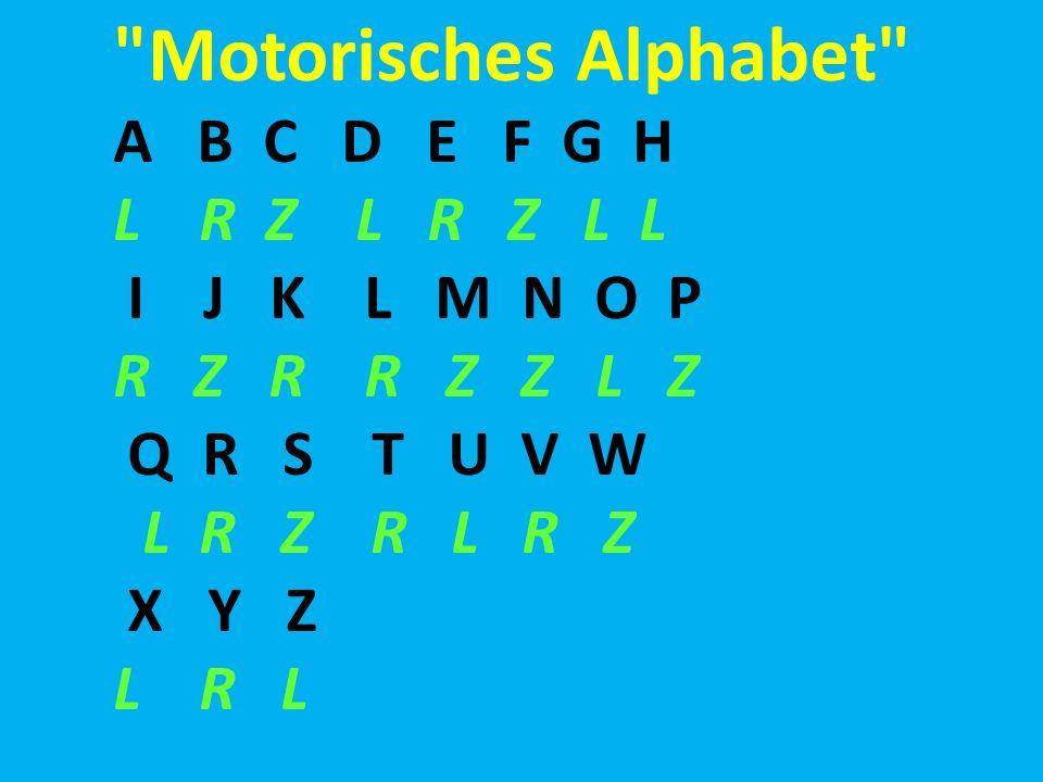Motorisches Alphabet A B C D E F G H L R Z L R Z L L I J K L M N O P