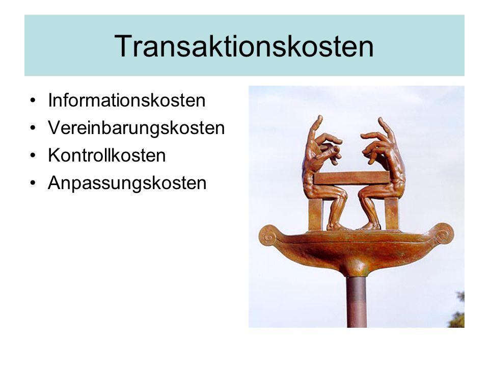 Transaktionskosten Informationskosten Vereinbarungskosten