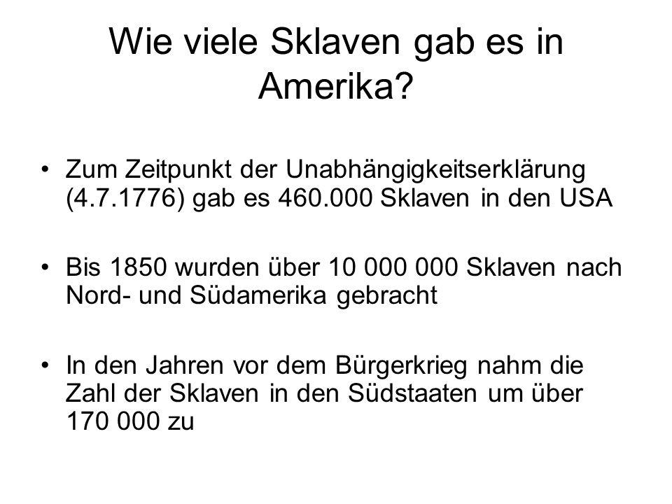 Wie viele Sklaven gab es in Amerika
