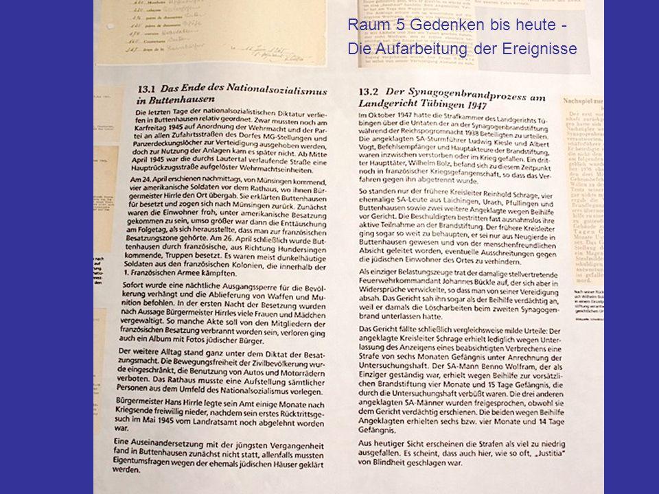 Raum 5 Gedenken bis heute Ende des NS-Regimes und Synagogenbrandprzess