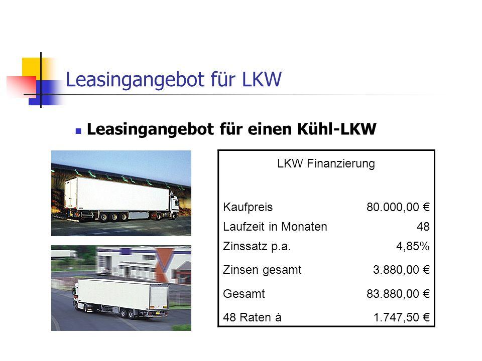 Leasingangebot für LKW