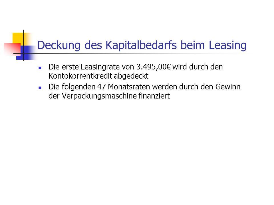 Deckung des Kapitalbedarfs beim Leasing