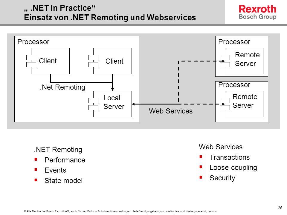 """"""" .NET in Practice Einsatz von .NET Remoting und Webservices"""